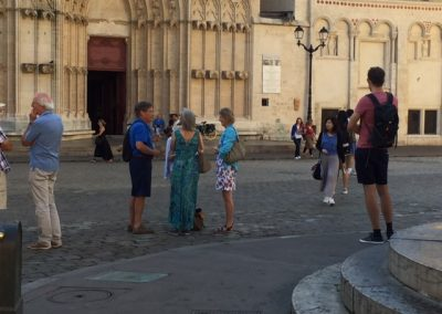 Practising French in Lyon with their teacher Martine