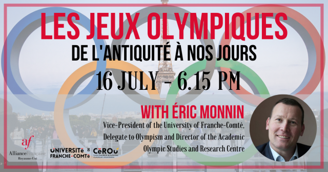 Friday 16 July – The Olympic Games from Antiquity to the Present (6.15pm to 7.30pm)